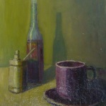 Tea cup and bottles